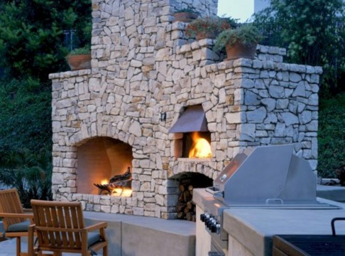Diy outdoor fireplace and firepit ideas 06