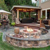 Diy outdoor fireplace and firepit ideas 23
