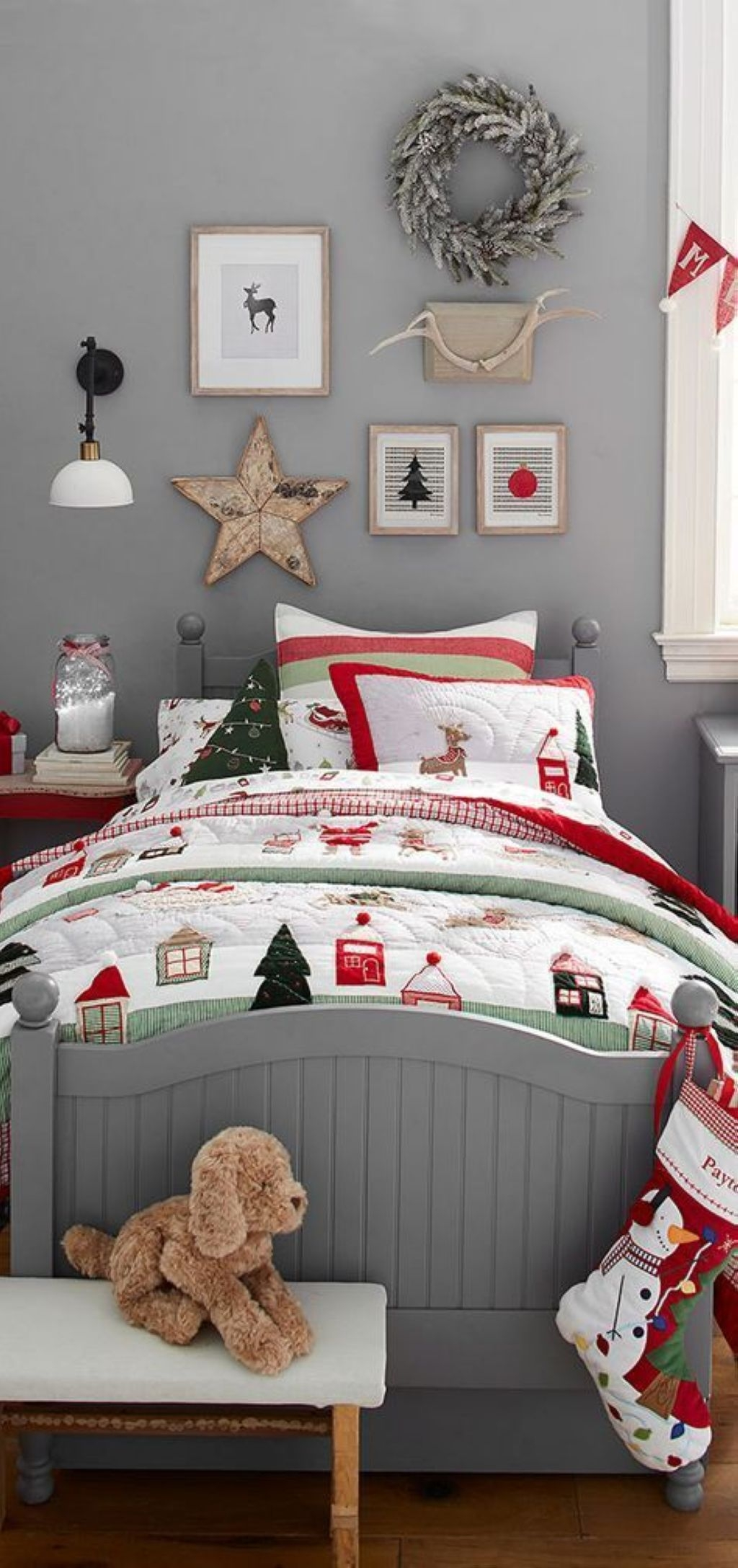 Give your little ones bed a playful dose of tis the season style with plenty of cozy layers