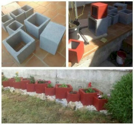 Ways to decorate your garden using cinder blocks 36