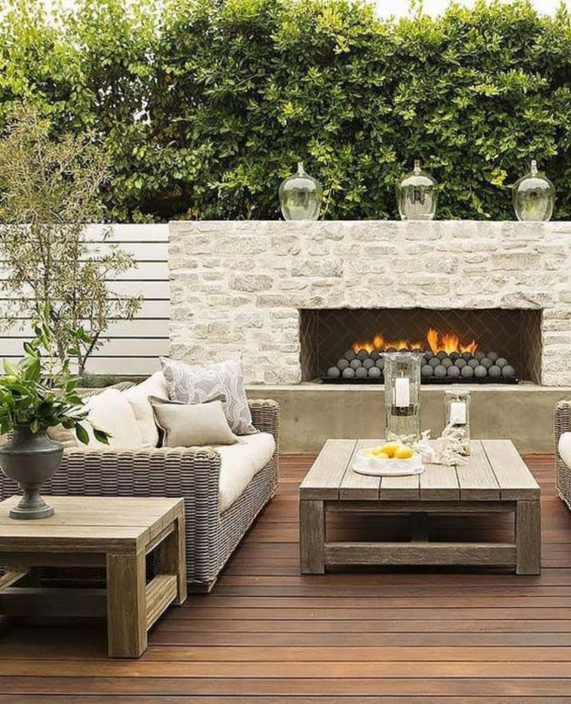 Amazing outdoor fireplace designs in front yard