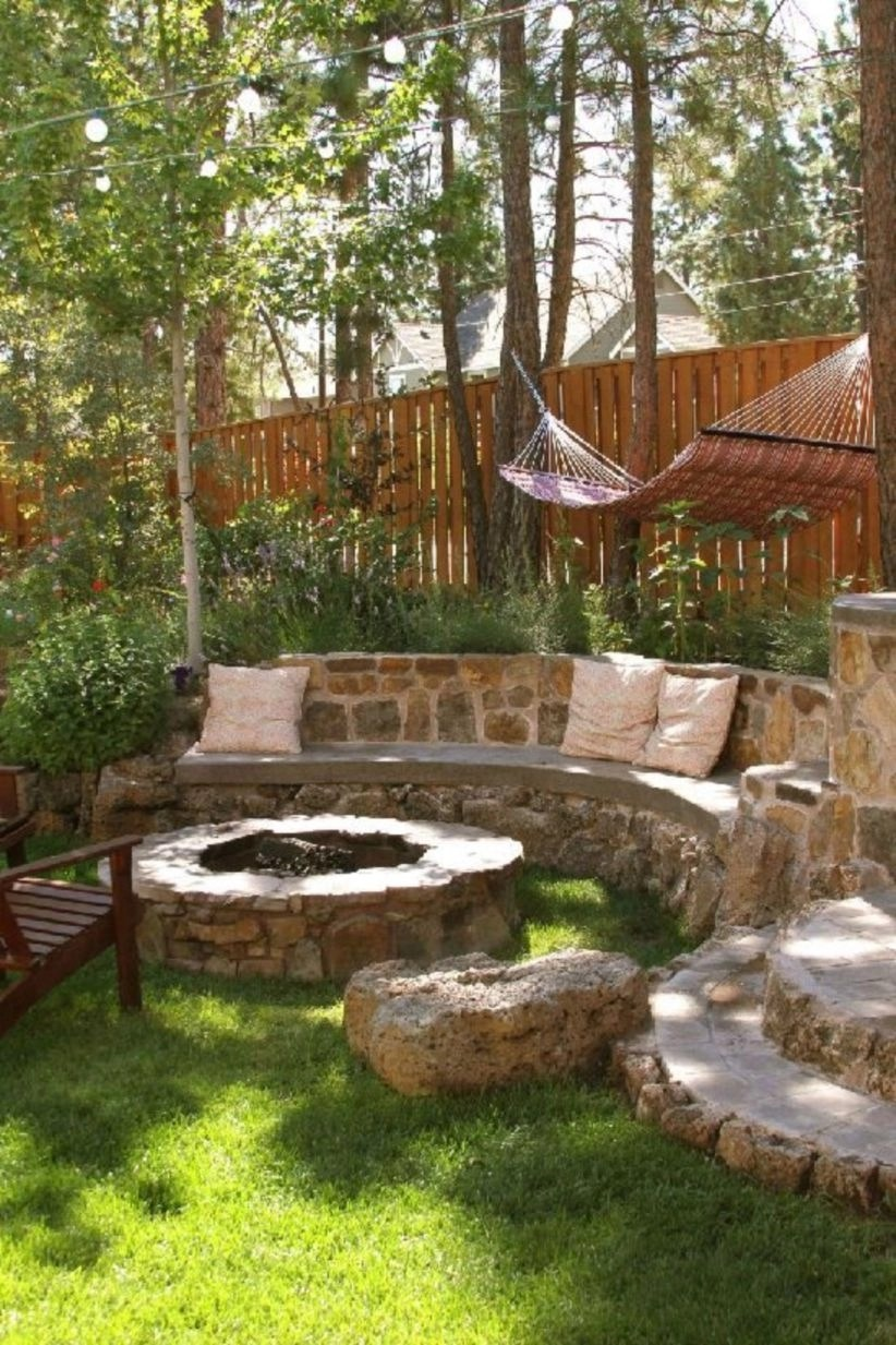 Backyard landscaping secrets with bench or seats