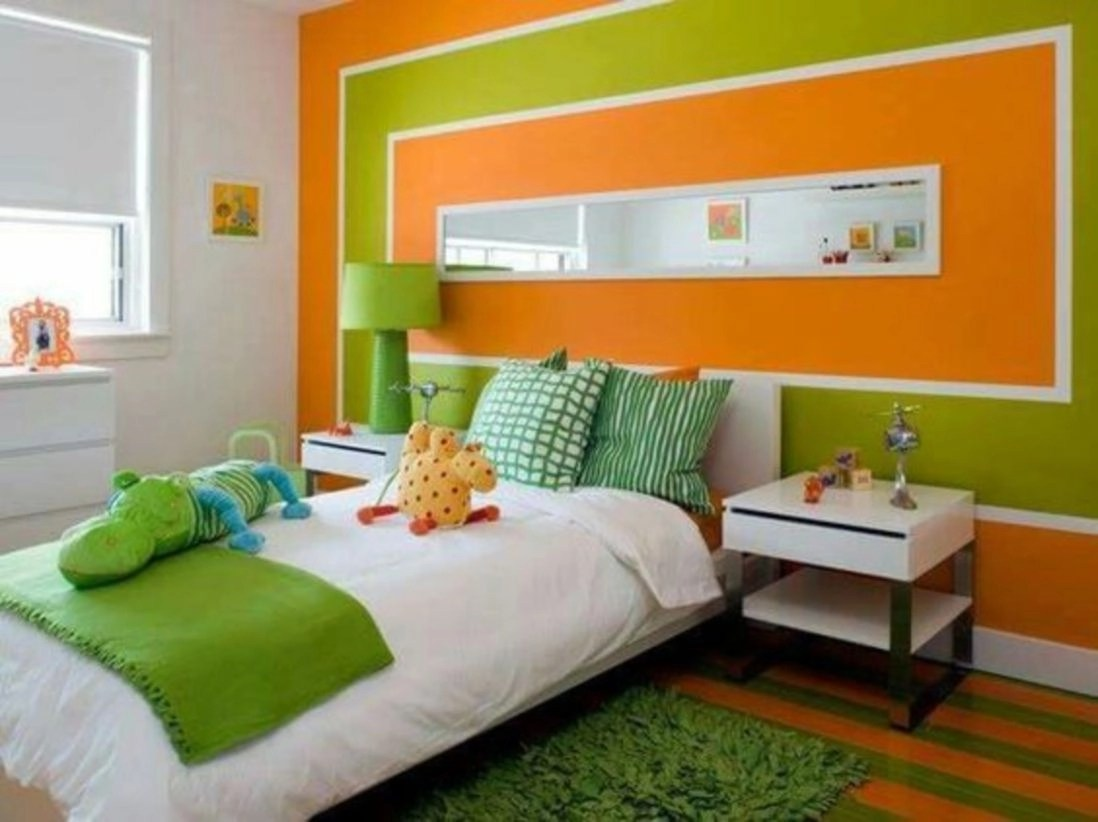 Bedroom for children with wall bright collor