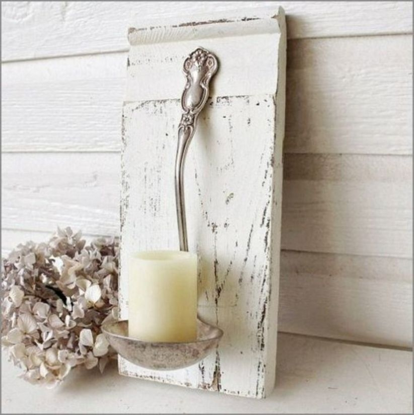 Diy candle holder shabby chic home decor ideas