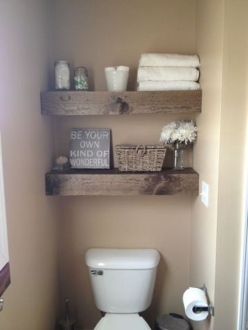 Diy shelves for storage & rustic style in bathroom