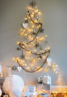 Diy wall christmas tree to save your space 28