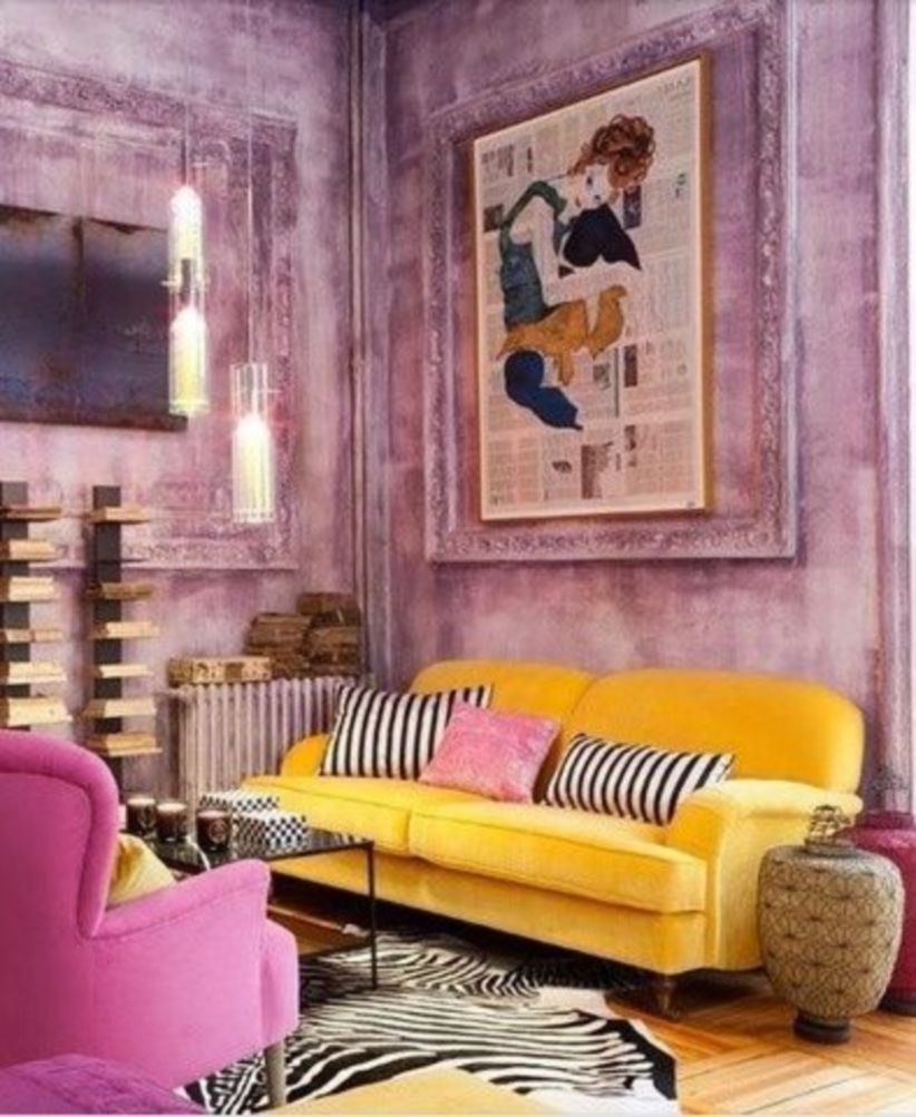 Eclectic yellow and pink apartment