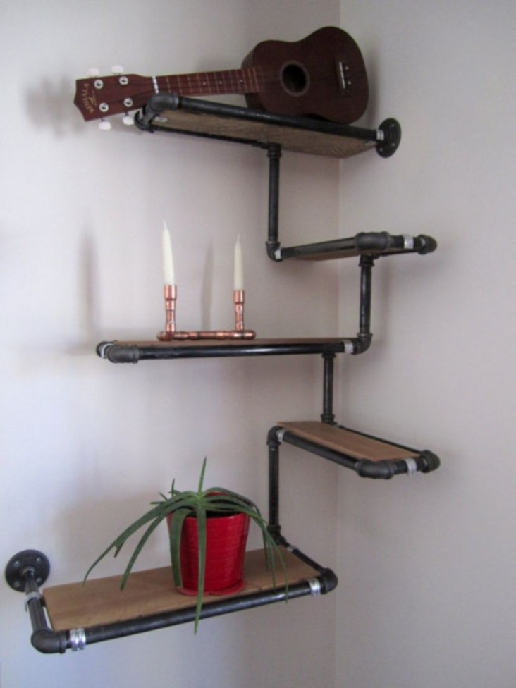 Ideas to decorate your corner space with unique corner shelf 19