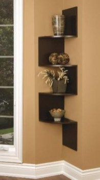 Ideas to decorate your corner space with unique corner shelf 40