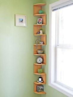 Ideas to decorate your corner space with unique corner shelf 42