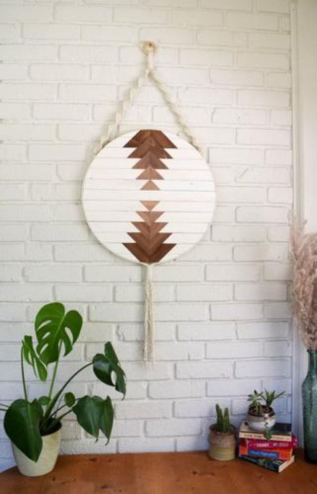 Round macrame wood wall art hanging