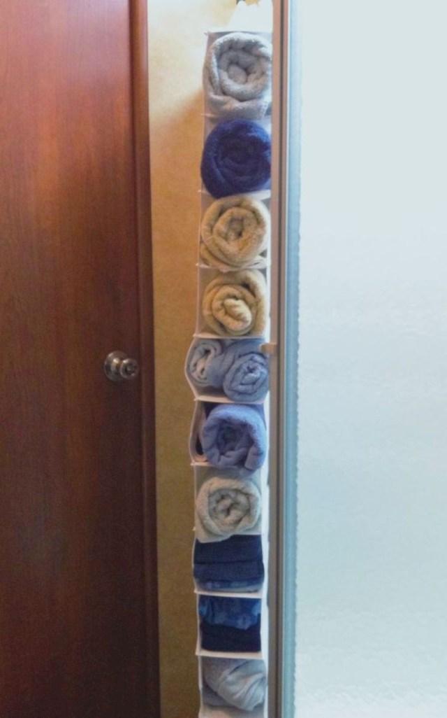 Towel storage hanging