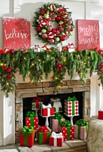 Ways to decorate fireplace for christmas 05