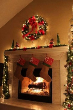 Ways to decorate fireplace for christmas 12