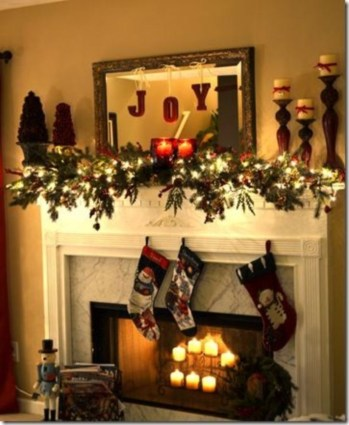 Ways to decorate fireplace for christmas 18