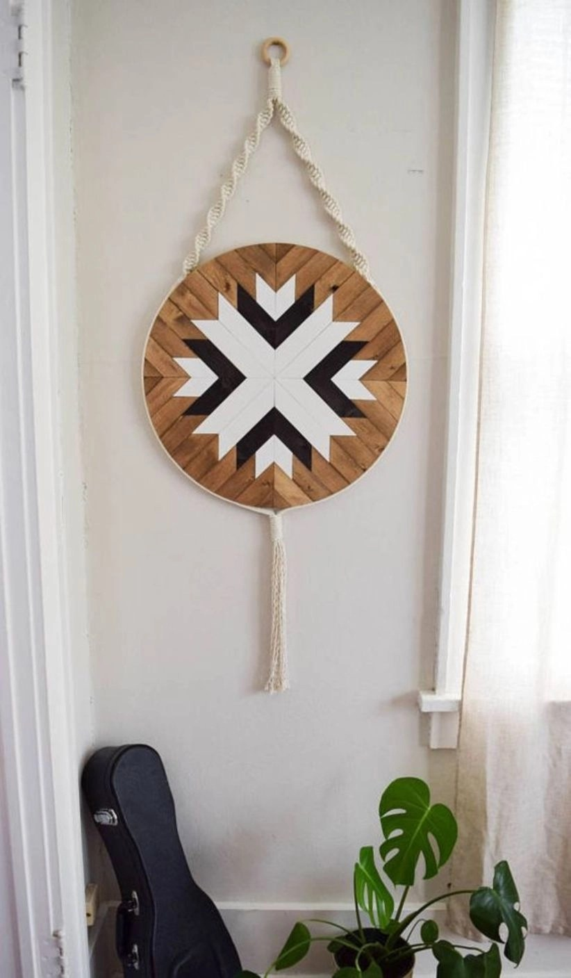 Wood wall art macrame wall hanging boho wood art round