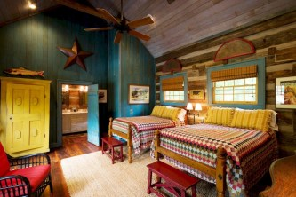 Creative log cabin themed bedroom for kids 14