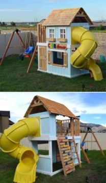 Fabulous backyard playhouse to delight your kids 26