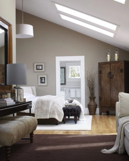 Vintage attic bedroom with wall of skylights07