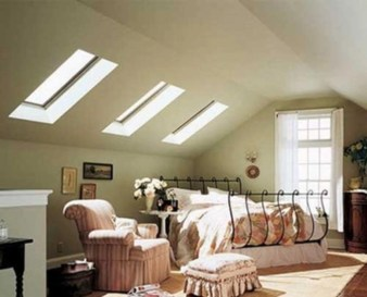 Vintage attic bedroom with wall of skylights08