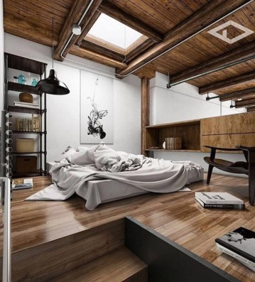 Vintage attic bedroom with wall of skylights35
