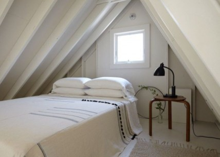 Vintage attic bedroom with wall of skylights44