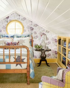 Vintage attic bedroom with wall of skylights58