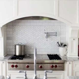 Adorable marble herringbone backsplash detail 06
