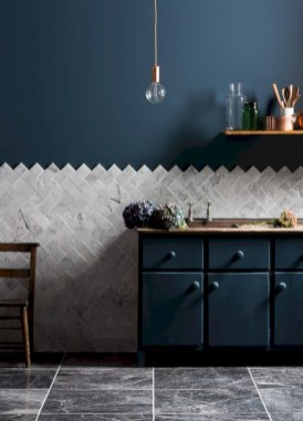 Adorable marble herringbone backsplash detail 15
