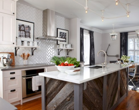 Adorable marble herringbone backsplash detail 22