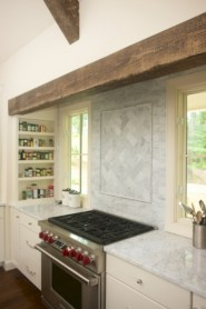 Adorable marble herringbone backsplash detail 25