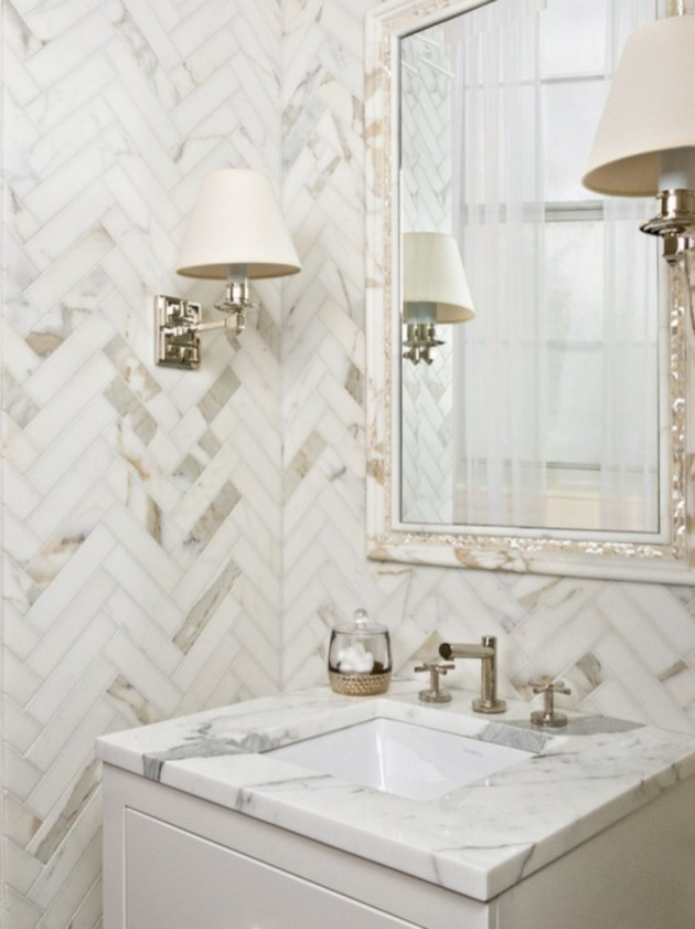 Adorable marble herringbone backsplash detail 32