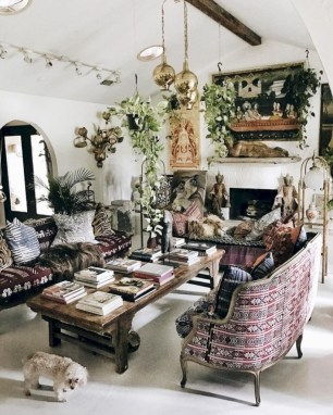 Boho rustic glam living room design ideas 06
