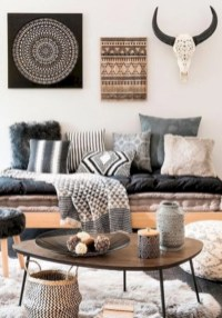 Boho rustic glam living room design ideas 21