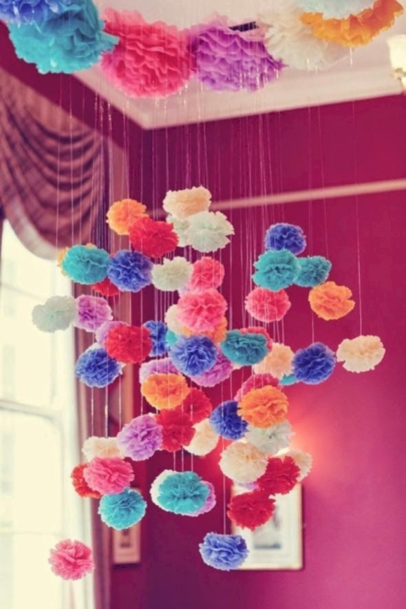 Simple and easy diy tissue paper flower garland 13