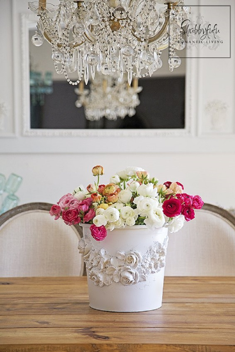 Romantic diy flower bucket market