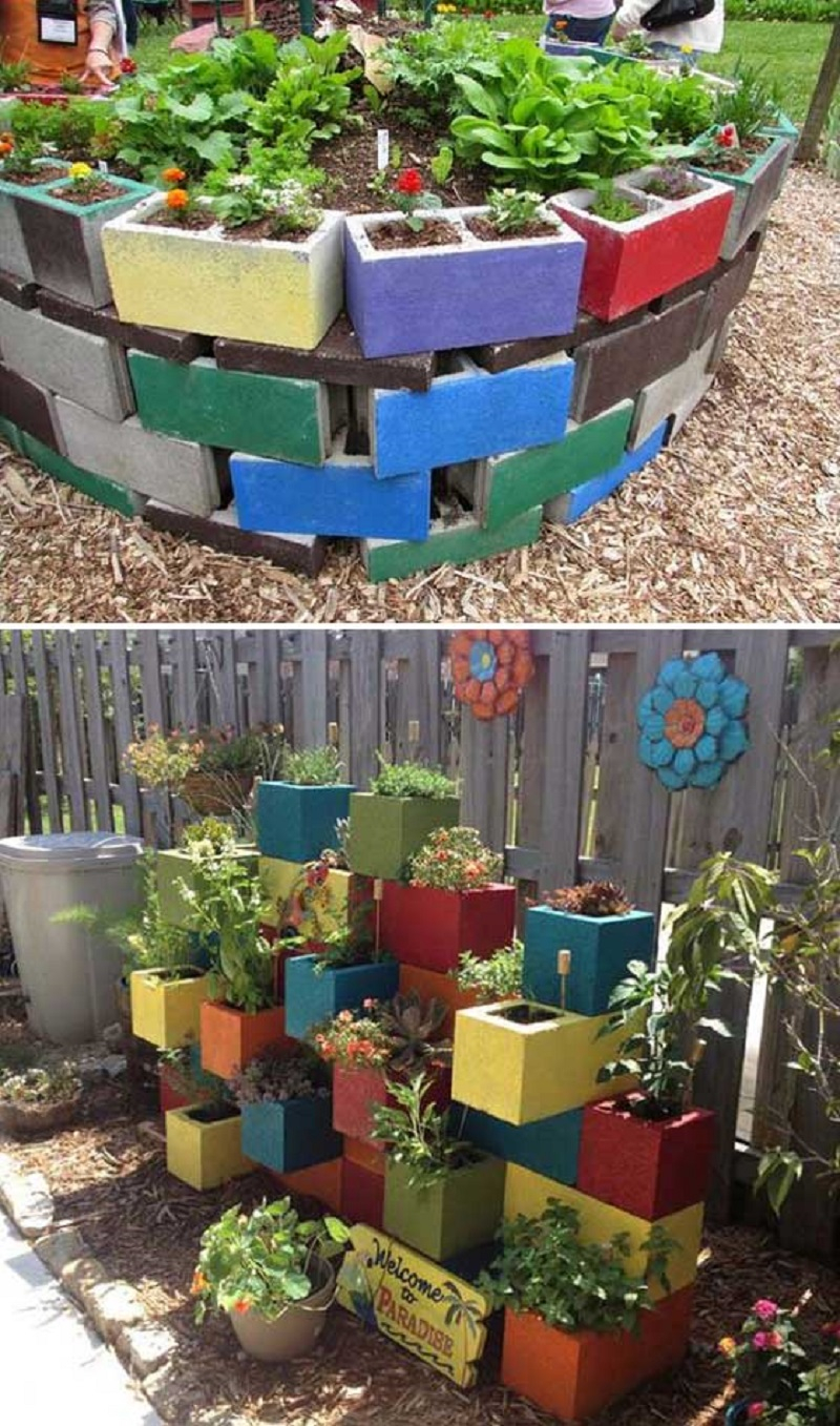 Thinking this is a good plan for my back veggie garden ... |Cinder Block Flower Bed Plans