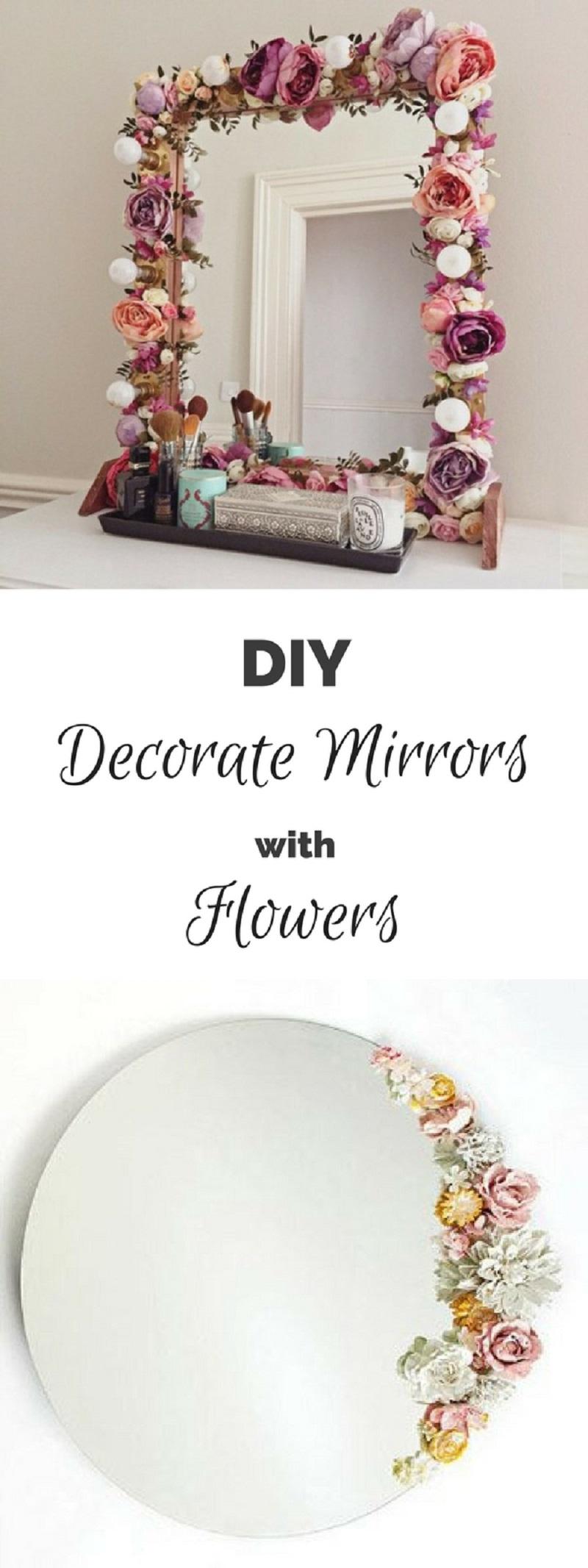 Flower decorated mirror
