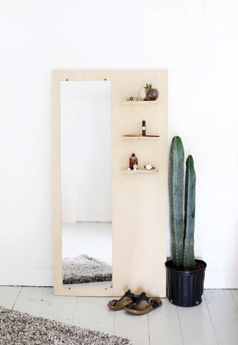 Entryway plywood mirror