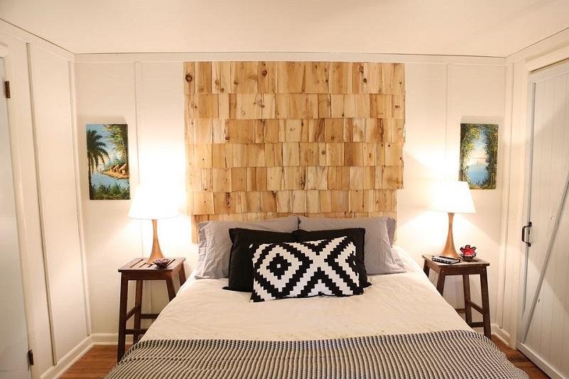 Cedar shingle headboard