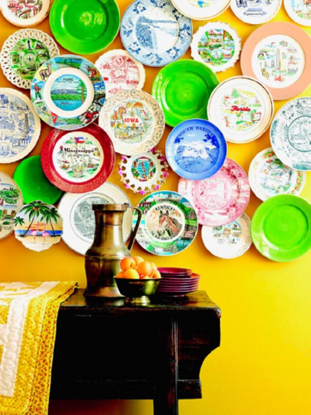 Colorful plate wall with overlapping plates