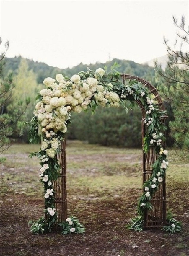 Outdoor wedding ceremony flower wedding arch