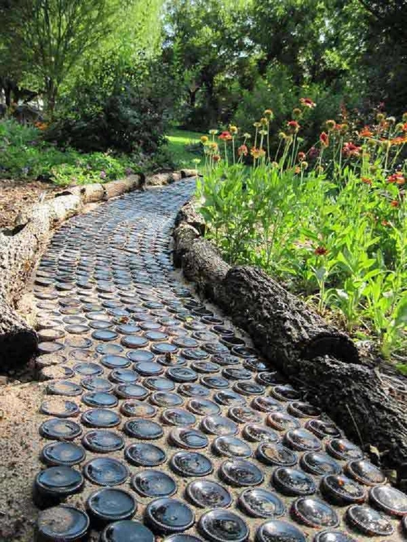 Garden path from wine bottle
