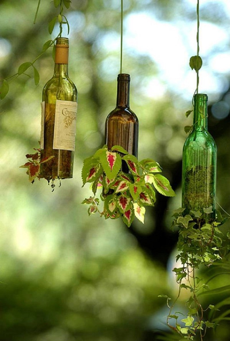 Wine bottle upside down planter