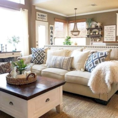 Rustic farmhouse living room decor ideas 12