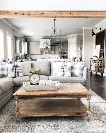 Rustic farmhouse living room decor ideas 28