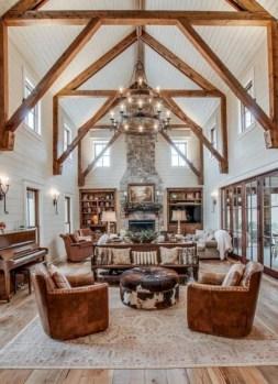 Rustic farmhouse living room decor ideas 37