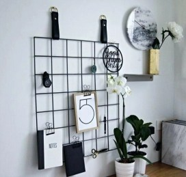 Best diy decor ideas for your home using wire wall grid 09