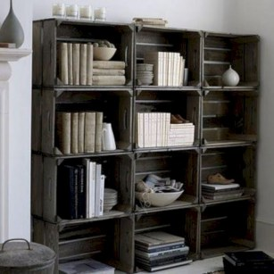 Diy wood crate shelves projects to calm the clutter effectively 23