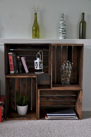 Diy wood crate shelves projects to calm the clutter effectively 27